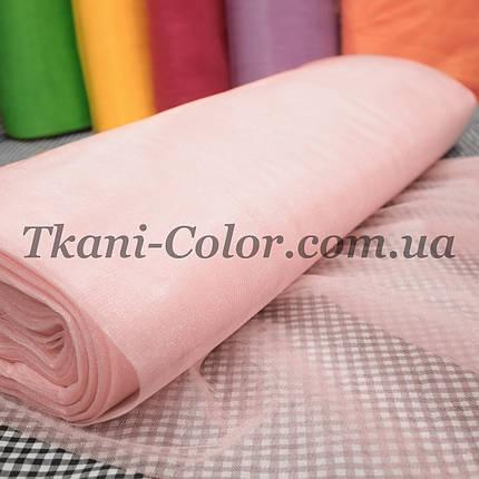 Тканина фатин середньої жорсткості світло-рожевий, фото 2