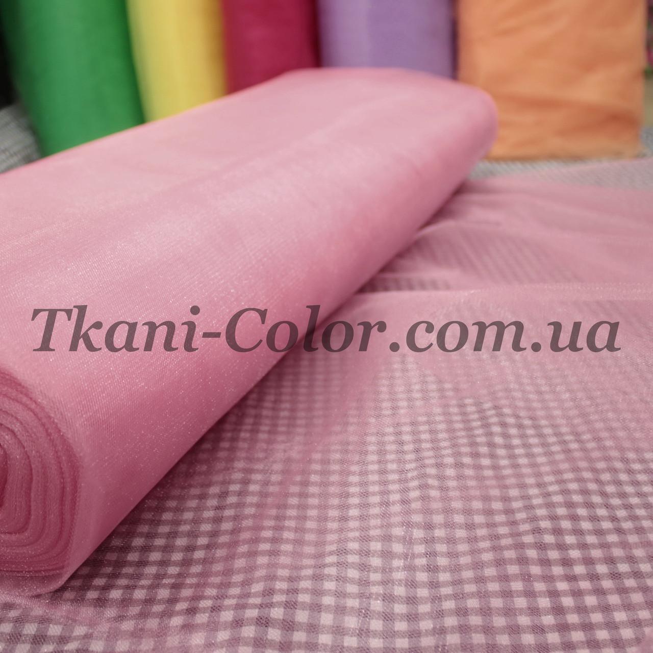 Ткань фатин средней жесткости розовый