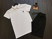 Мужской летний комплект Ralph Lauren (white/black), мужской летний комплект Ральф Лаурен (поло и шорты)