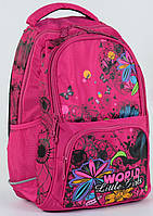 Школьный ортопедический ранец для девочек 2, 3, 4 класс. Рюкзак, портфель Цветок для школы. Розовый