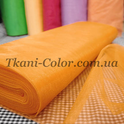 Ткань фатин средней жесткости оранжевый, фото 2