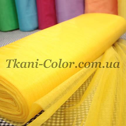 Тканина фатин середньої жорсткості жовтий, фото 2