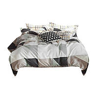 Комплект постельного белья Хлопковый Сатин Двухсторонний NR C1290 Oulaiya 7740 Серый