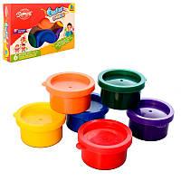 Пальчиковые краски для малышей 6 цветов в баночках, мое первое творчество, 8868