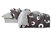 Комплект постельного белья Хлопковый Сатин Двухсторонний NR C1208 Oulaiya 1679 Белый, Серый