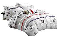 Комплект постельного белья Хлопковый Сатин Двухсторонний NR C1243 Oulaiya 9111 Красный, Серый