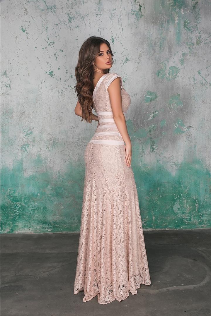 5aa4131a2f55225 Женское вечернее платье в пол из гипюра - Интернет-магазин одежды