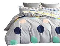 Комплект постельного белья Хлопковый Сатин NR C1260 Oulaiya 1747 Синий, Серый