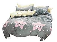 Комплект постельного белья Хлопковый Сатин Двухсторонний NR C1327 Oulaiya 3031 Серый, Желтый, Розовый