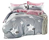 Комплект постельного белья Хлопковый Сатин Двухсторонний NR C1373 Oulaiya 2720 Розовый, Серый, Белый