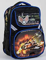 Рюкзак школьный ортопедический для мальчиков 1, 2 класс, портфель, ранец Танк. Черно-синий