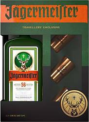 Лікер Jagermeister + 3 Metal Shot Cups(Єгермейстер + 3 чарки) 35%, 1 літр
