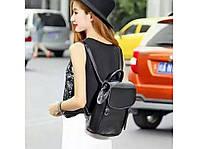 Женский городской стильный casual рюкзак кожаный черный