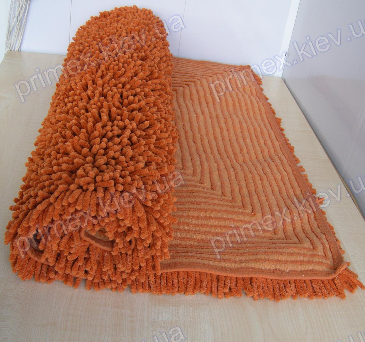 Коврик для ванной хлопковый, 70*100см. цвет оранжевый. Набор ковриков для ванной