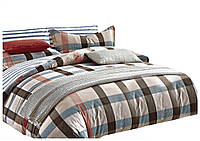 Комплект постельного белья Хлопковый Сатин Двухсторонний NR C1201 Oulaiya 8004 Бежевый, Коричневый