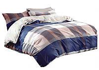 Комплект постельного белья Хлопковый Сатин Двухсторонний NR C1218 Oulaiya 1338 Кремовый, Синий