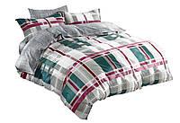 Комплект постельного белья Хлопковый Сатин Двухсторонний NR C1237 Oulaiya 9180 Серый, Зеленый