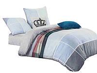 Комплект постельного белья Хлопковый Сатин Двухсторонний NR C1244 Oulaiya 9081 Синий, Серый