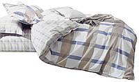 Комплект постельного белья Хлопковый Сатин Двухсторонний NR C1282 Oulaiya 7788 Белый, Бежевый, Синий