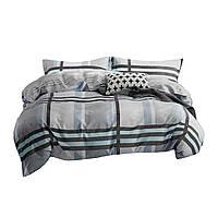 Комплект постельного белья Хлопковый Сатин Двухсторонний NR C1295 Oulaiya 8401 Серый