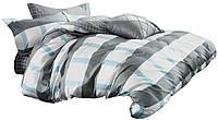 Комплект постельного белья Хлопковый Сатин Двухсторонний NR C1297 Oulaiya 7870 Белый, Синий, Серый