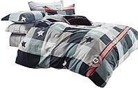 Комплект постельного белья Хлопковый Сатин Двухсторонний NR C1302 Oulaiya 7900 Синий, Серый