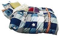 Комплект постельного белья Хлопковый Сатин Двухсторонний NR C1333 Oulaiya 3086 Синий, Серый