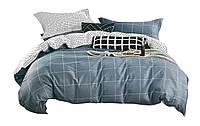Комплект постельного белья Хлопковый Сатин Двухсторонний NR C1350 Oulaiya 2836 Синий