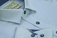 """Рубашка для мальчика """"Княжичи"""" Украина голубой полоска W60 slim"""