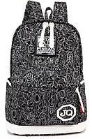 Женский рюкзак (жіночій рюкзак) с принтом черный (977784130)