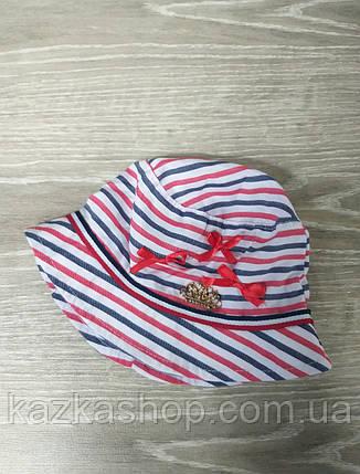 Детская панама в полоску с декоративными бантами, шляпка для девочек, 100% хлопок, размер 48-50, фото 2