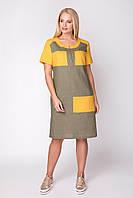 Платье из льна Мила 50-56 хаки