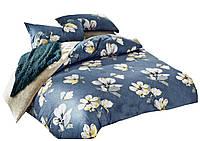 Комплект постельного белья Хлопковый Сатин NR C1179 Oulaiya 9829 Кремовый, Синий