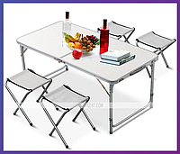 Складной стол для пикника + 4 стула Folding Table Convenient to Take, фото 1