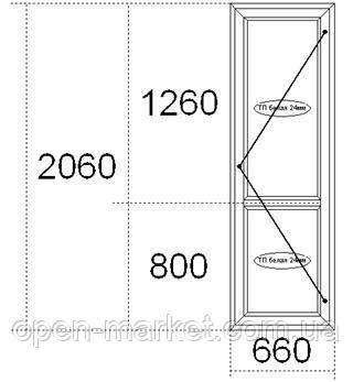 Металлопластиковые межкомнатные двери, сантех замок, 660х2060, Николаев, фото 2