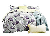 Комплект постельного белья Хлопковый Сатин NR C1341 Oulaiya 2904 Серый, Фиолетовый