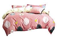 Комплект постельного белья Хлопковый Сатин Двухсторонний NR C1376 Oulaiya 2652 Розовый