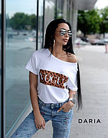 Женская футболка хулиганка со спадающим плечом 55ut237