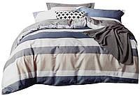 Комплект постельного белья Хлопковый Сатин NR C1284 Oulaiya 7498 Синий, Серый