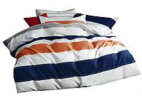 Комплект постельного белья Хлопковый Сатин Двухсторонний NR C1211 Oulaiya 9197 Белый, Синий, Оранжевый