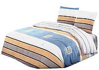 Комплект постельного белья Хлопковый Сатин Двухсторонний NR C1236 Oulaiya 9135 Белый, Синий, Оранжевый