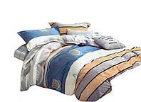 Комплект постельного белья Хлопковый Сатин Двухсторонний NR C1262 Oulaiya 8836 Синий, Оранжевый