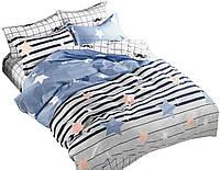 Комплект постельного белья Хлопковый Сатин Двухсторонний NR C1286 Oulaiya 8630 Синий, Серый