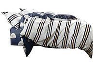 Комплект постельного белья Хлопковый Сатин Двухсторонний NR C1326 Oulaiya 2553 Белый, Синий