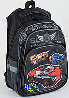 Школьный ортопедический портфель ранец рюкзак для мальчиков 1-4 класс Машинка Черный