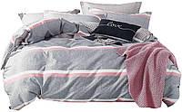 Комплект постельного белья Хлопковый Сатин NR C1306 Oulaiya 8678 Розовый, Серый