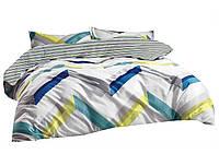 Комплект постельного белья Хлопковый Сатин Двухсторонний NR C1209 Oulaiya 8916 Белый, Синий, Желтый