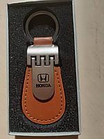Брелок автомобильный Honda хонда кожанный для ключей коричневый