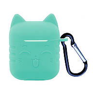 Чехол SMILE CAT 2in1 ( + карабин) для AirPods Mint