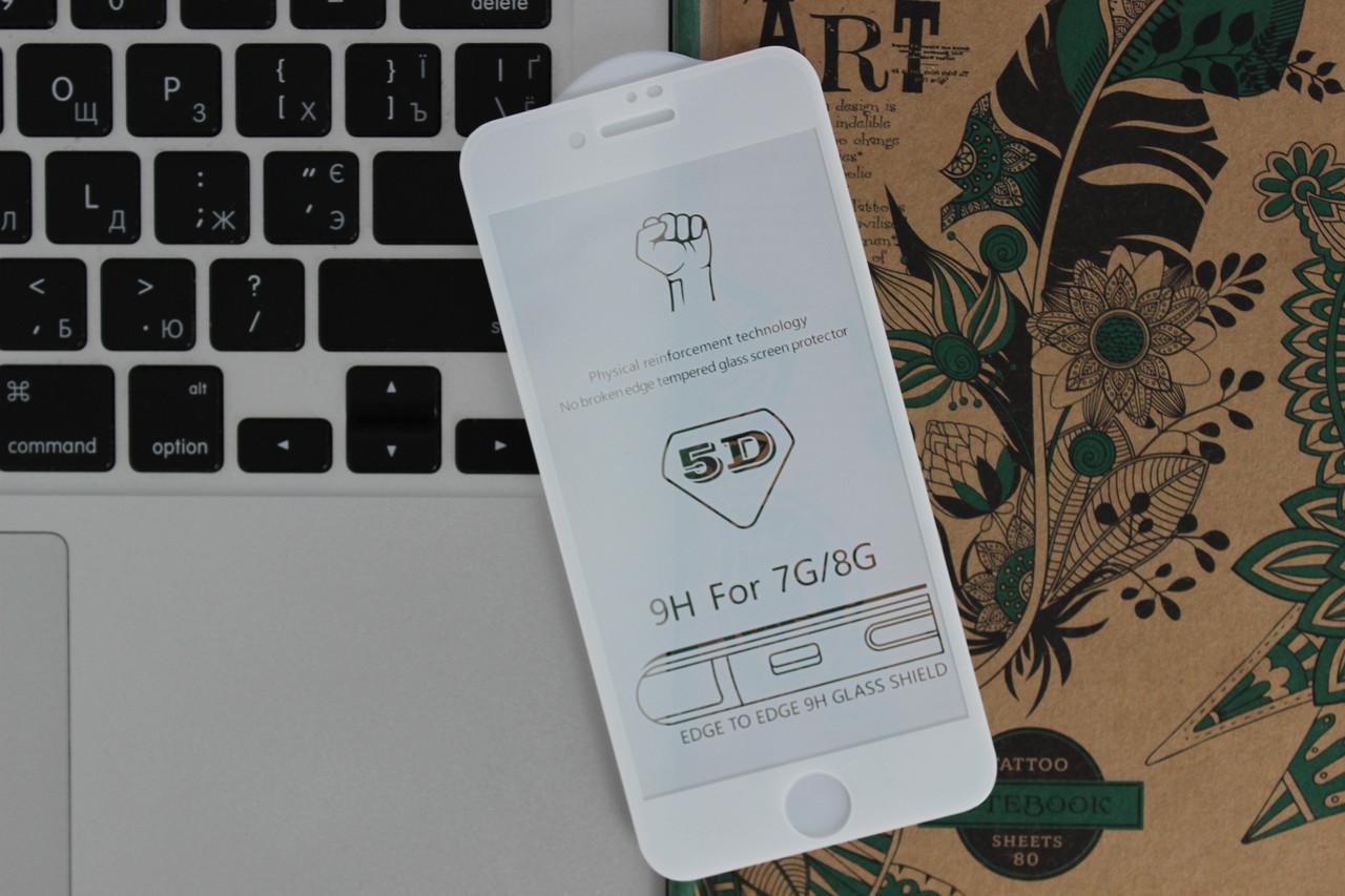 Защитное стекло 5D Full Screen iPhone 7/8 - white